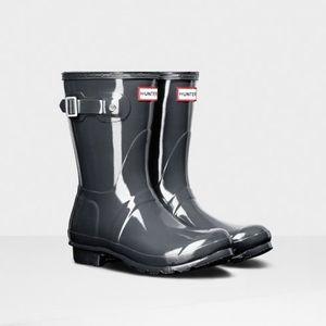 Hunter Original Short Gloss Rain Boots: Slate Grey